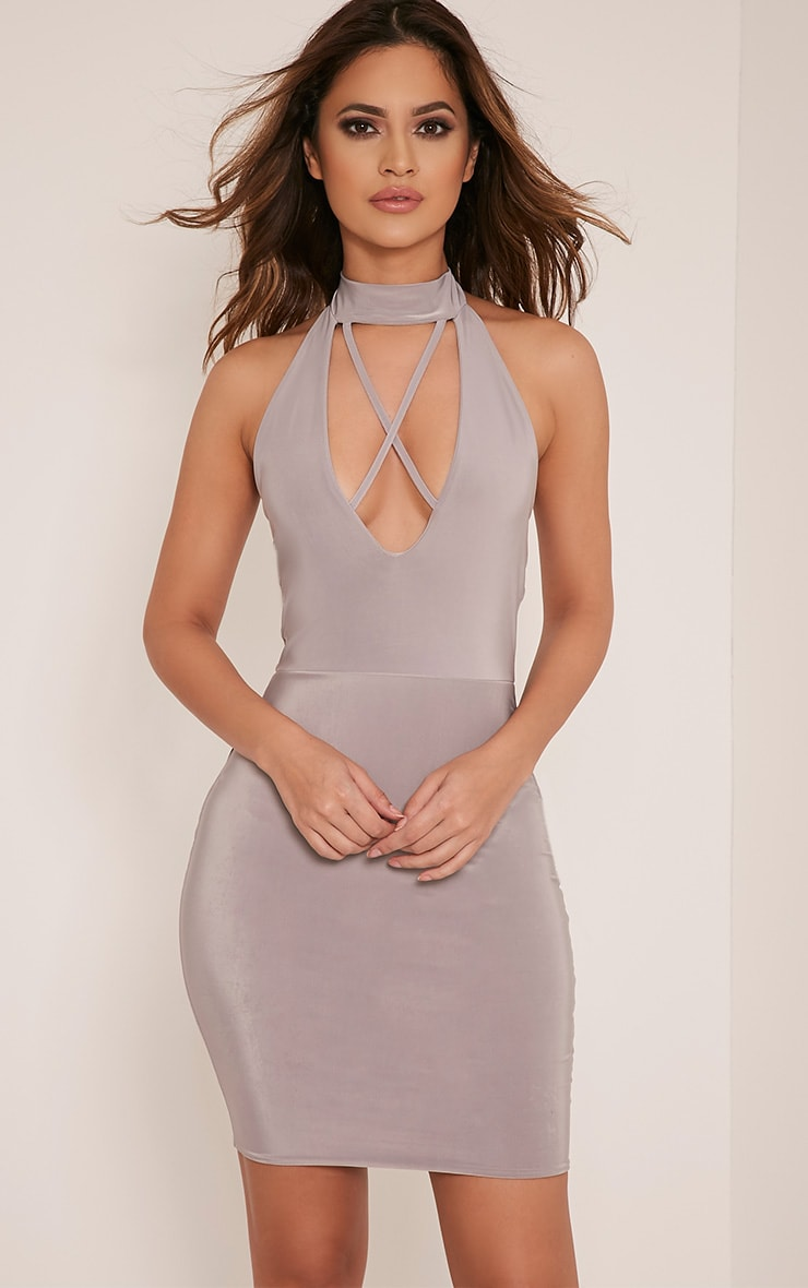 Gabby Grey Choker Cross Front Plunge Bodycon Dress 1