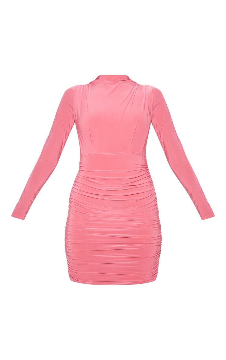Hot Pink Slinky High Neck Ruched Front Bodycon Dress 3