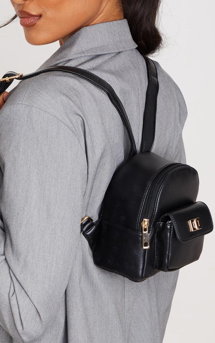 Black PU Mini Backpack 1