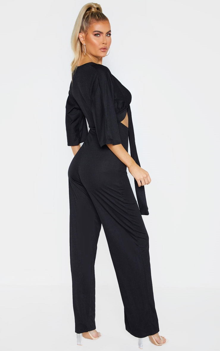 Tall Black Crepe Batwing Cut Out Jumpsuit 2