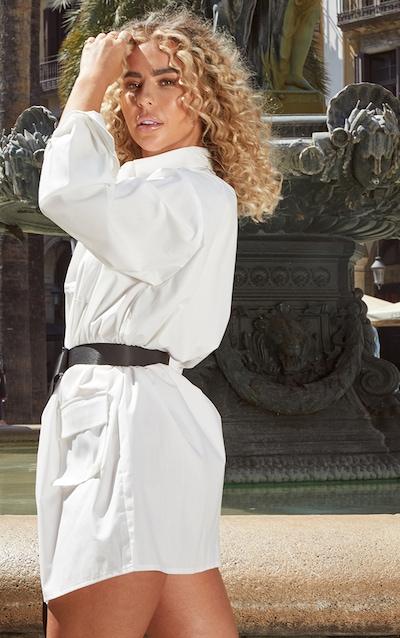 White Pocket Detail Long Sleeve Shirt Dress
