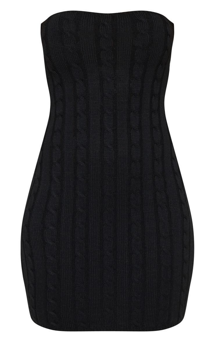 Black Cable Bandeau Knit Dress 3