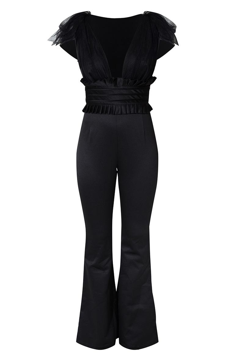 Black Frill Shoulder Satin Plunge Jumpsuit 5