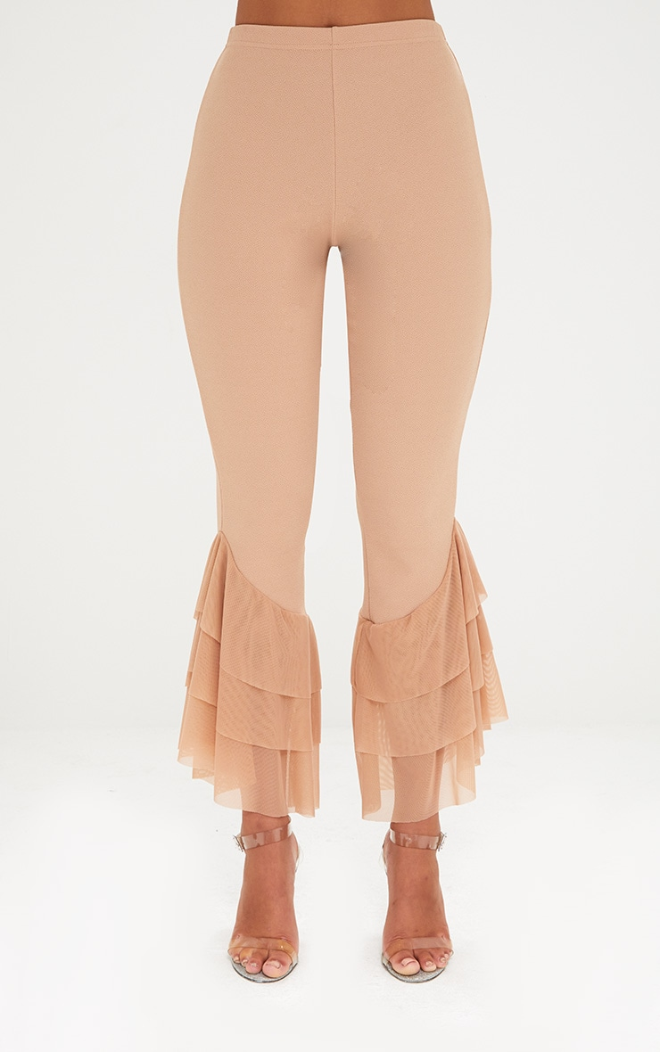 Sand Tulle Frill Flared Trousers 2