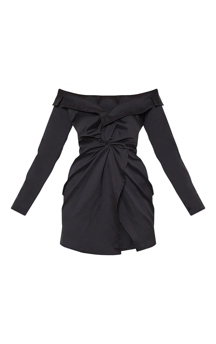 Black Bardot Knot Detail Blazer Dress 3