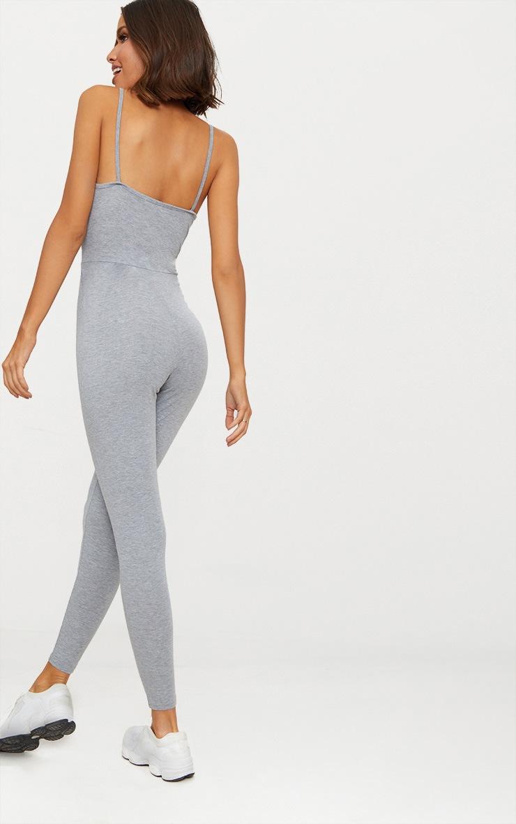 Grey Marl Jersey Wrap Tie Waist Jumpsuit 2