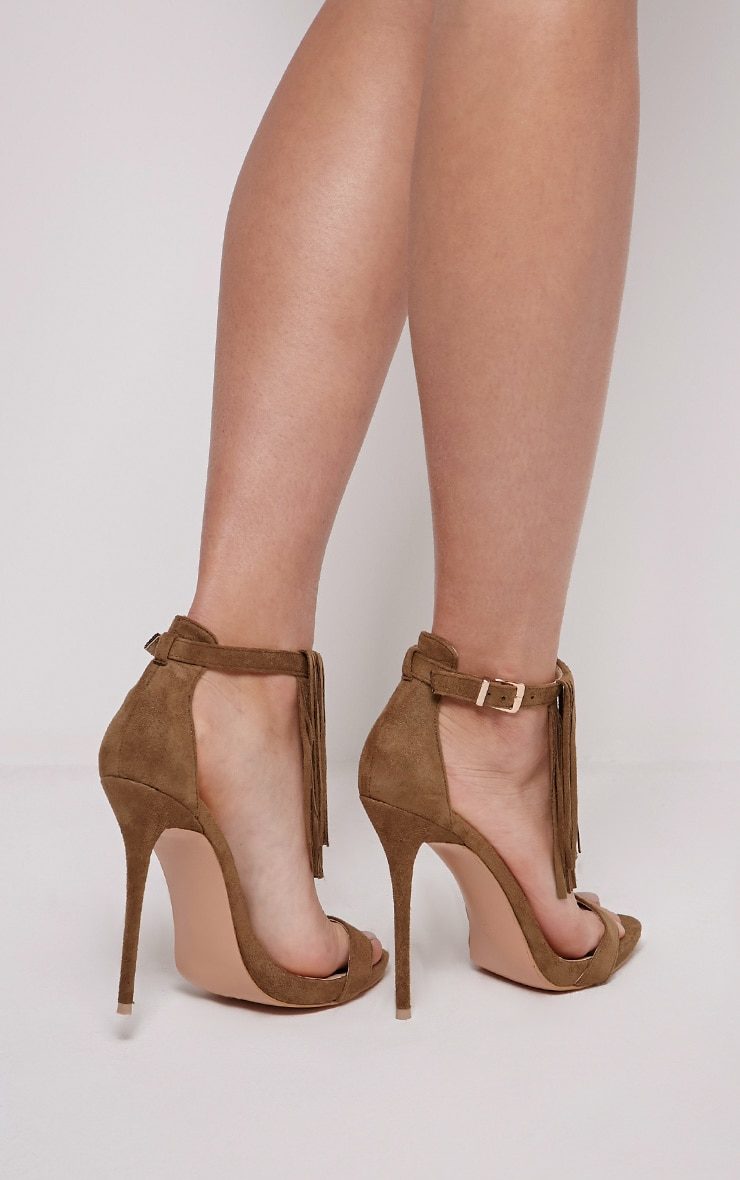 Billie Khaki Faux Suede Fringed Heeled Sandals 2