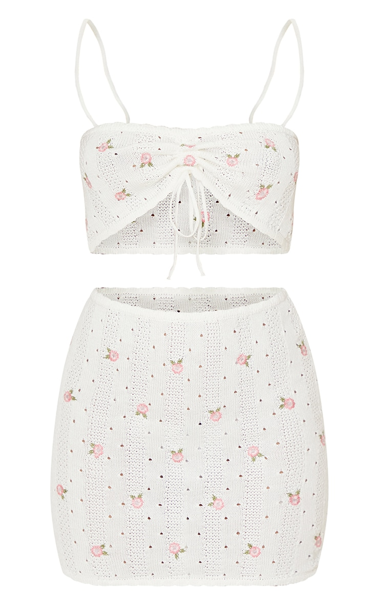 Cream Embroidered Knitted Tie Front Skirt Set 5