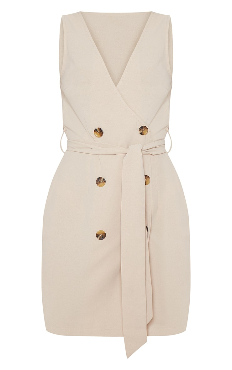 Beige Button Front Sleeveless Blazer Dress 3
