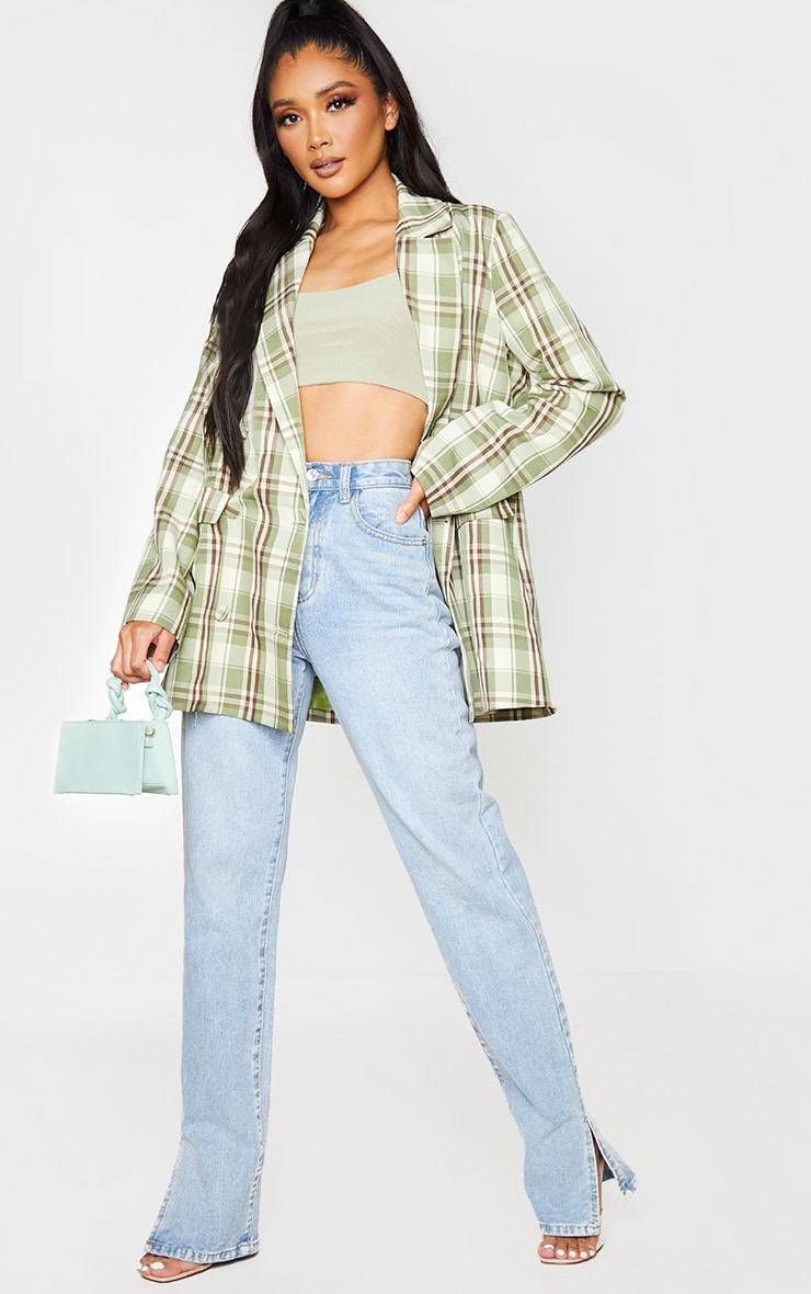 Green Woven Checked Double Breasted Oversized Blazer 3