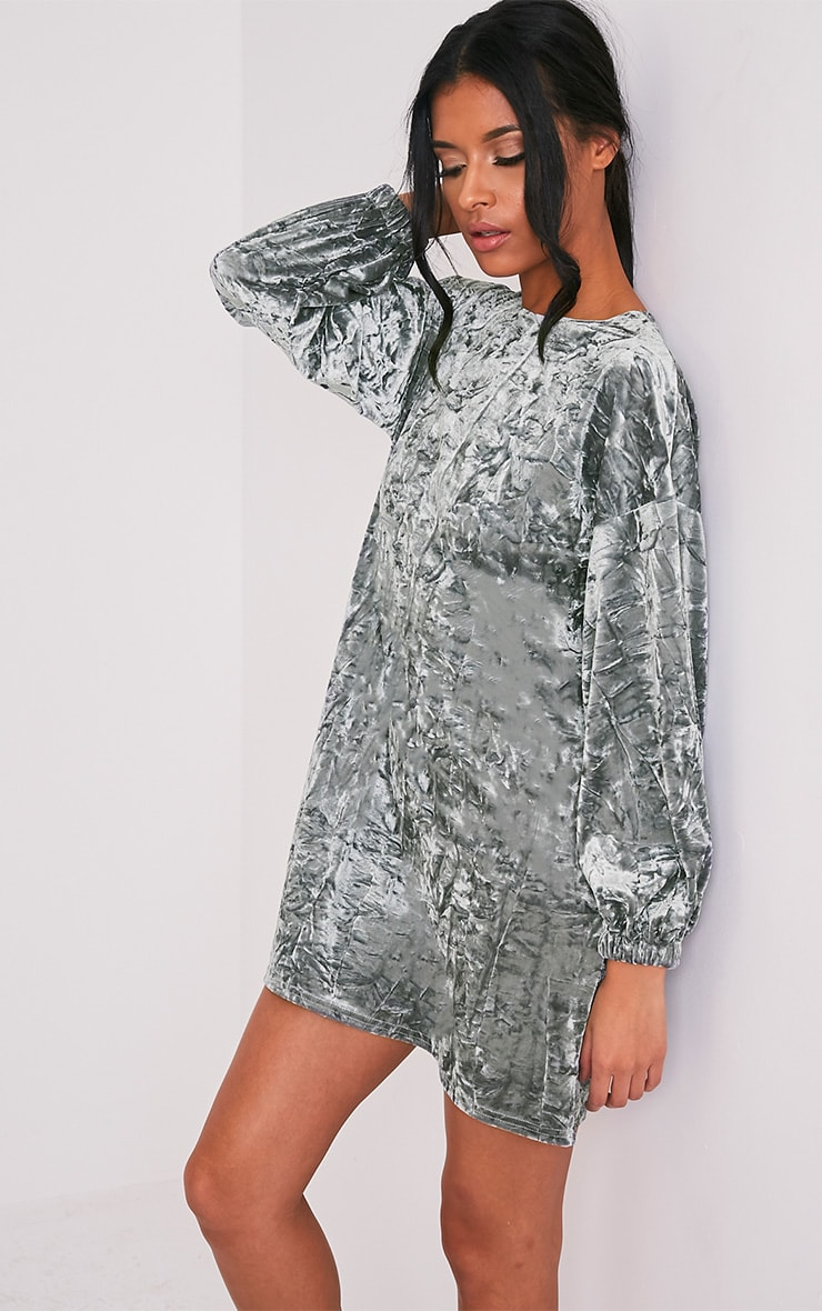 Reni Grey Crushed Velvet Oversized Shift Dress 4