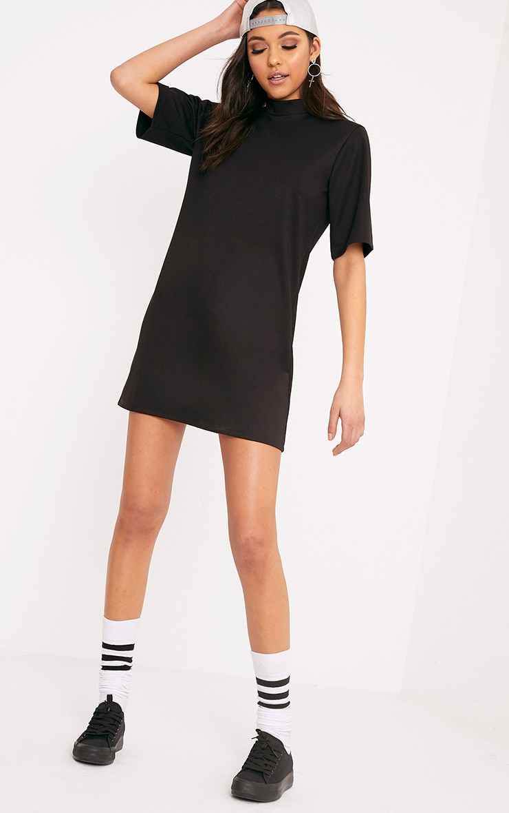 Erennie Black Scuba High Neck Shift Dress 4
