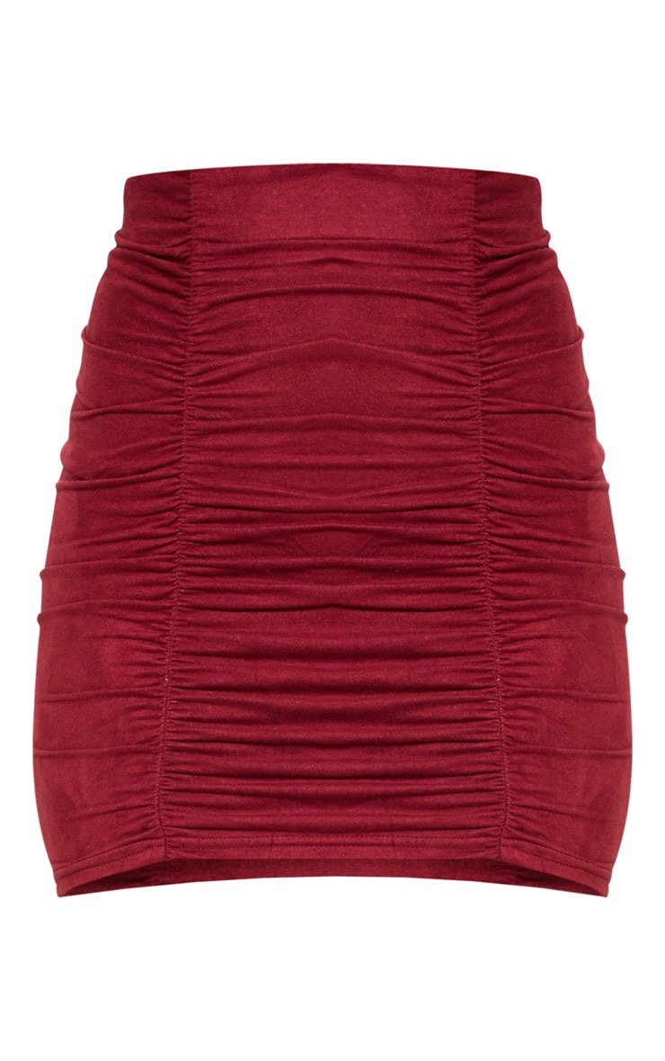 Maroon Faux Suede Ruched Mini Skirt  3
