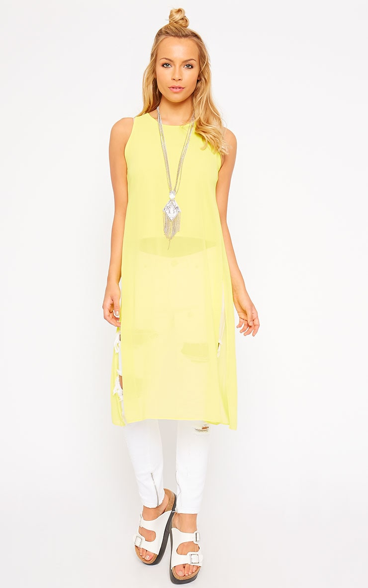 Cecile Yellow Sleeveless Chiffon Top 4