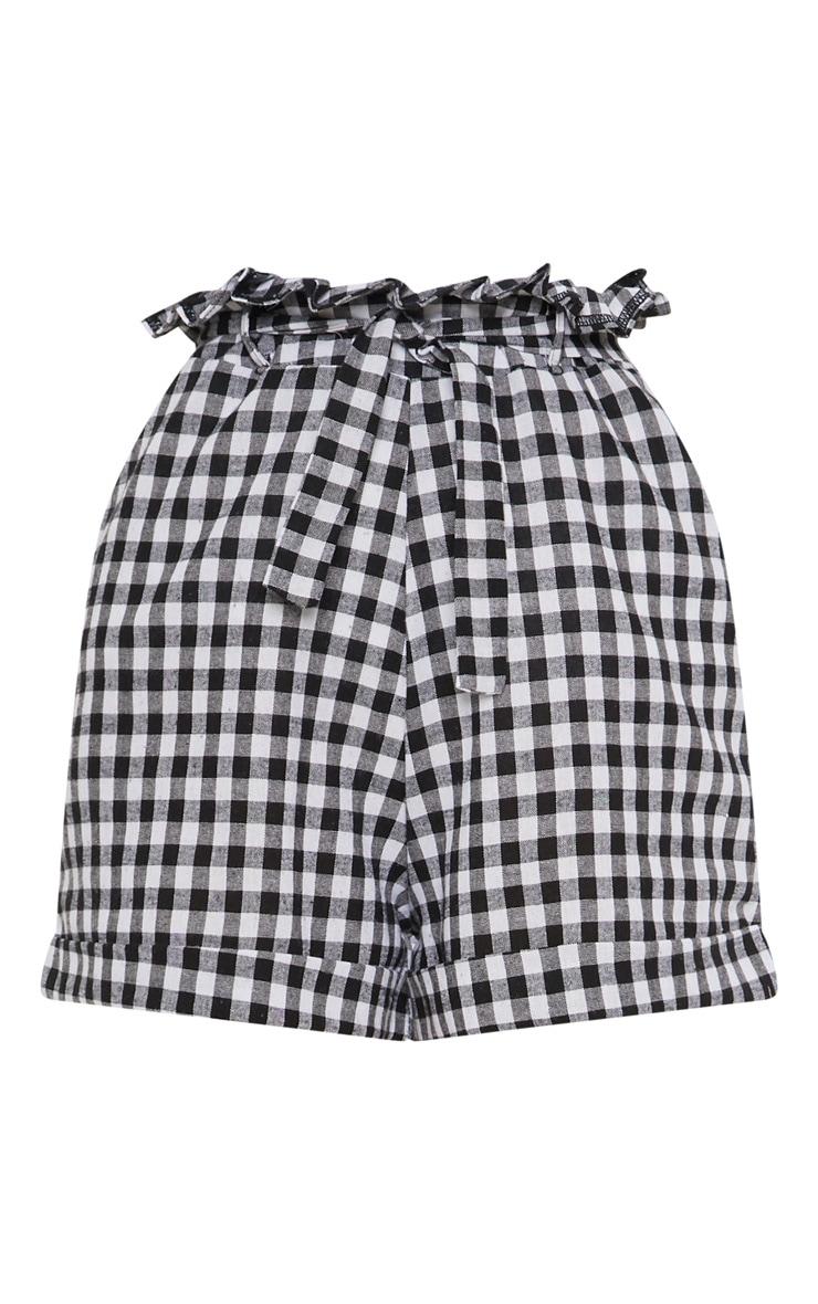 Black Gingham Tie Waist Short 3