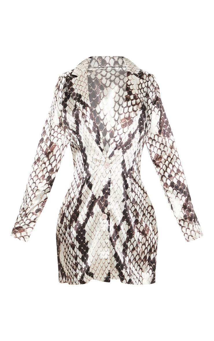 Grey Satin Snake Print Blazer Dress 3