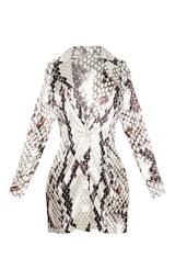 Grey Satin Snake Print Blazer Dress 3