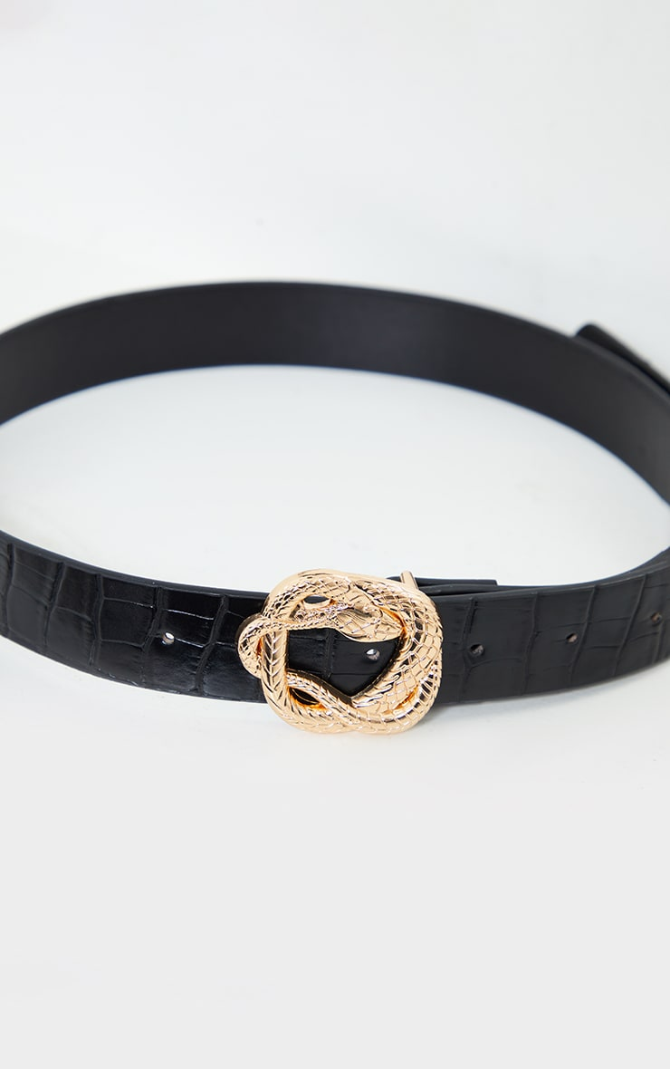 Black PU Snake Gold Twist Buckle Waist Belt 1