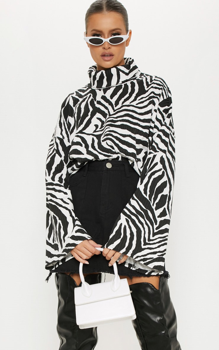 Monochrome Zebra Print Roll Neck Oversized Sweater 4