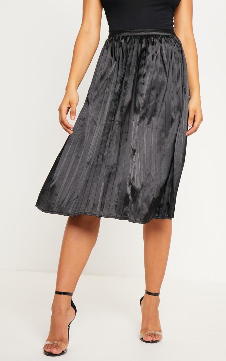 Tall Black Satin Pleated Midi Skirt  2