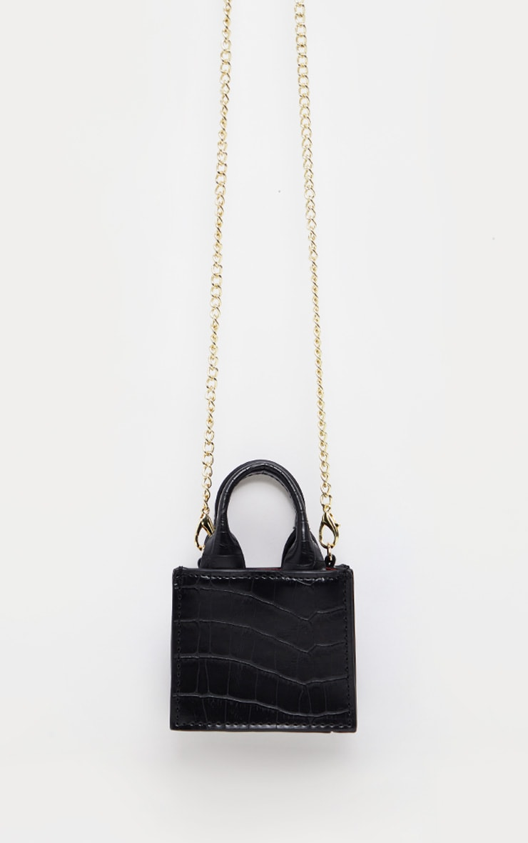 Black Croc Micro Mini Chain Bag 1