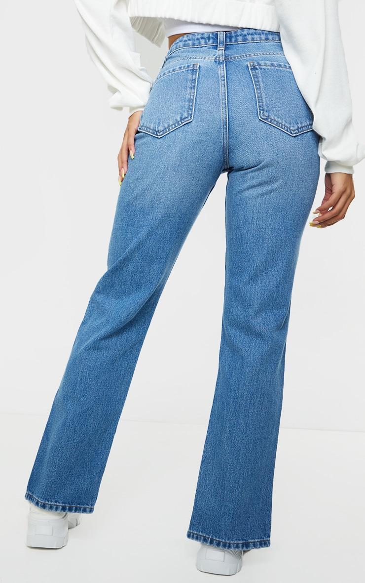 Mid Blue Wash Seam Front Raw Hem Split Front Jeans 3