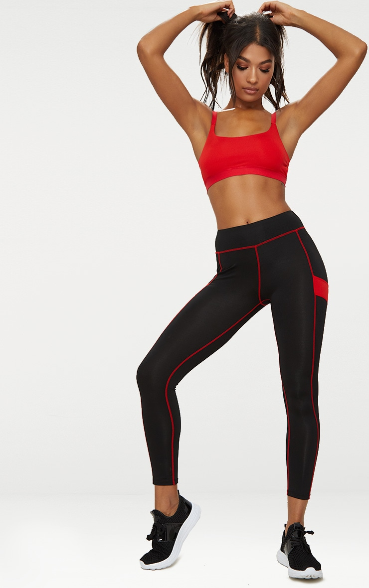 Red Caged Back Sports Bra 3