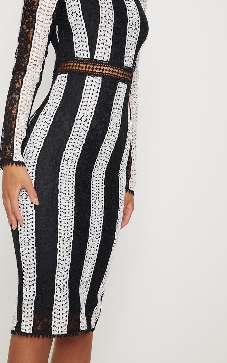 Monochrome Crochet Lace Midi Dress 5