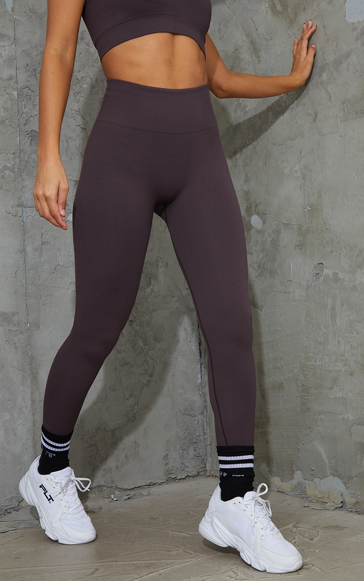 Chocolate Textured Seamless Gym Leggings 2