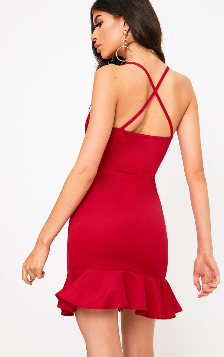 Red Strappy Frill Hem Bodycon Dress 2