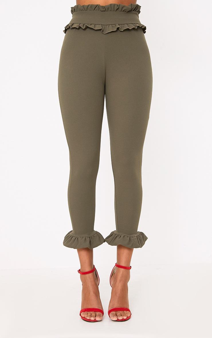 Khaki Keren Frill Hem Trousers 2