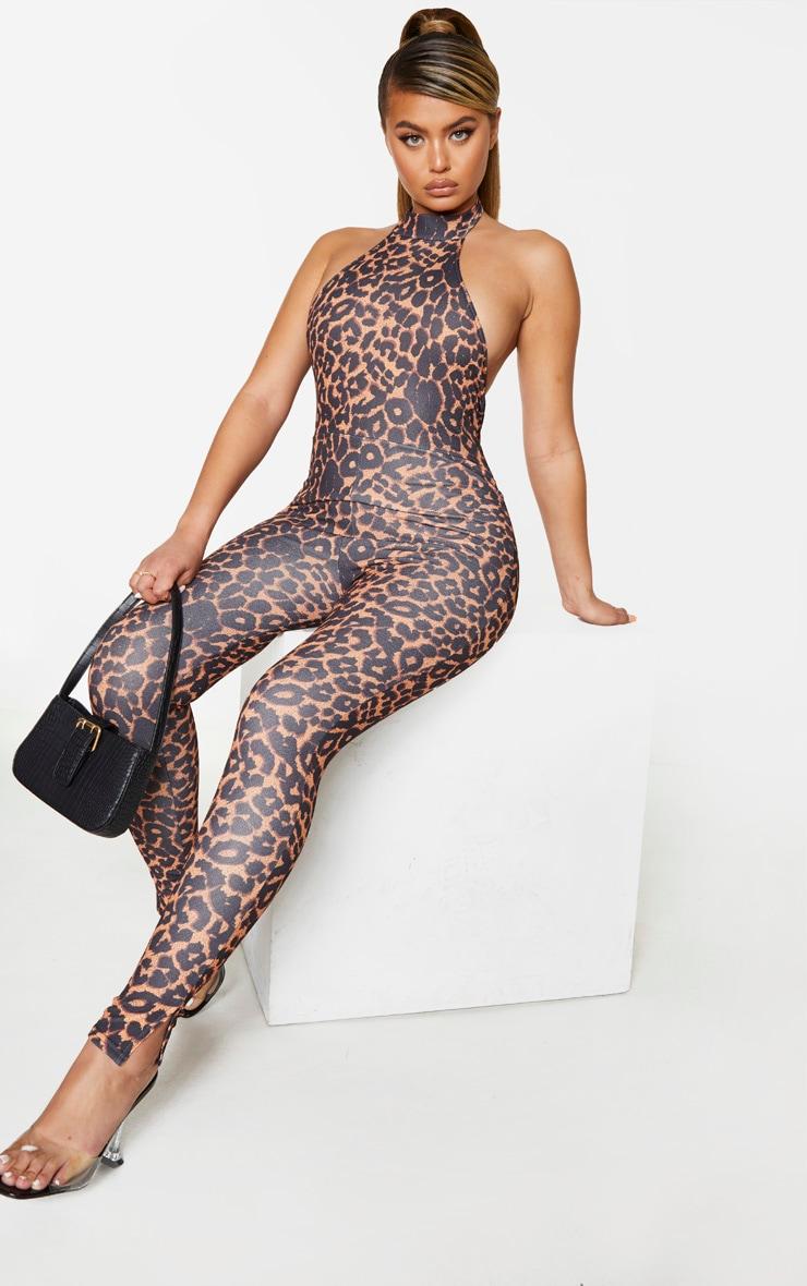 Tan Leopard High Neck Split Hem Jumpsuit 1