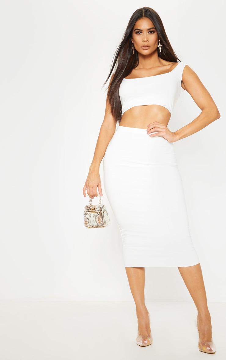 White Second Skin Slinky Midi Skirt 1