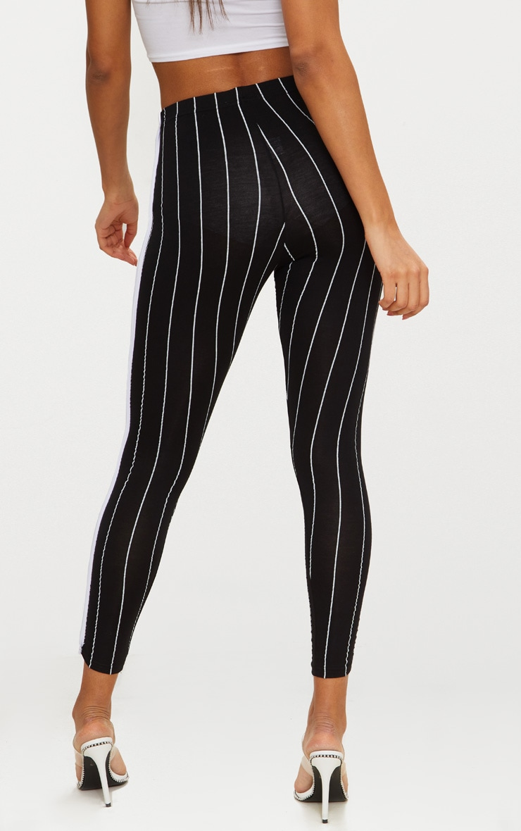 Black Pinstripe High Waisted Side Stripe Legging  2