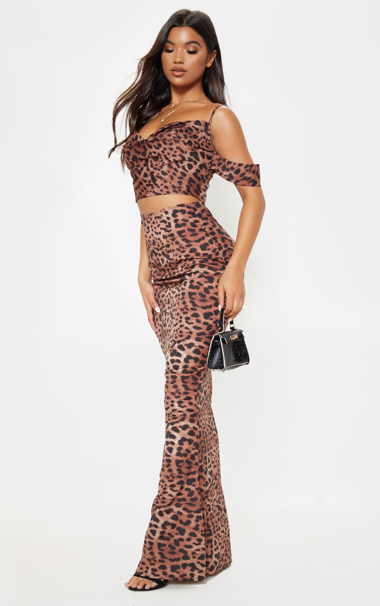Tan Satin Leopard Print Bardot Strappy Crop Top 4