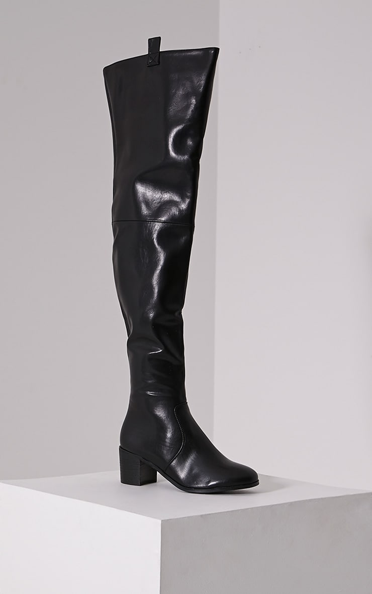 Cally Black Faux Leather Thigh High Over Knee Boots 3