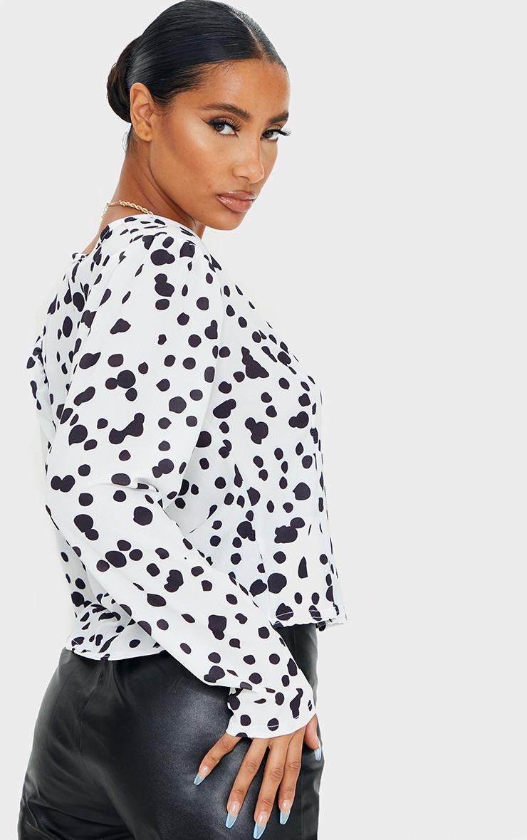 Black Woven Leopard Print Button Up Blouse 2