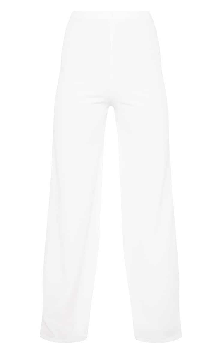 White High Waisted Wide Leg Pants  3