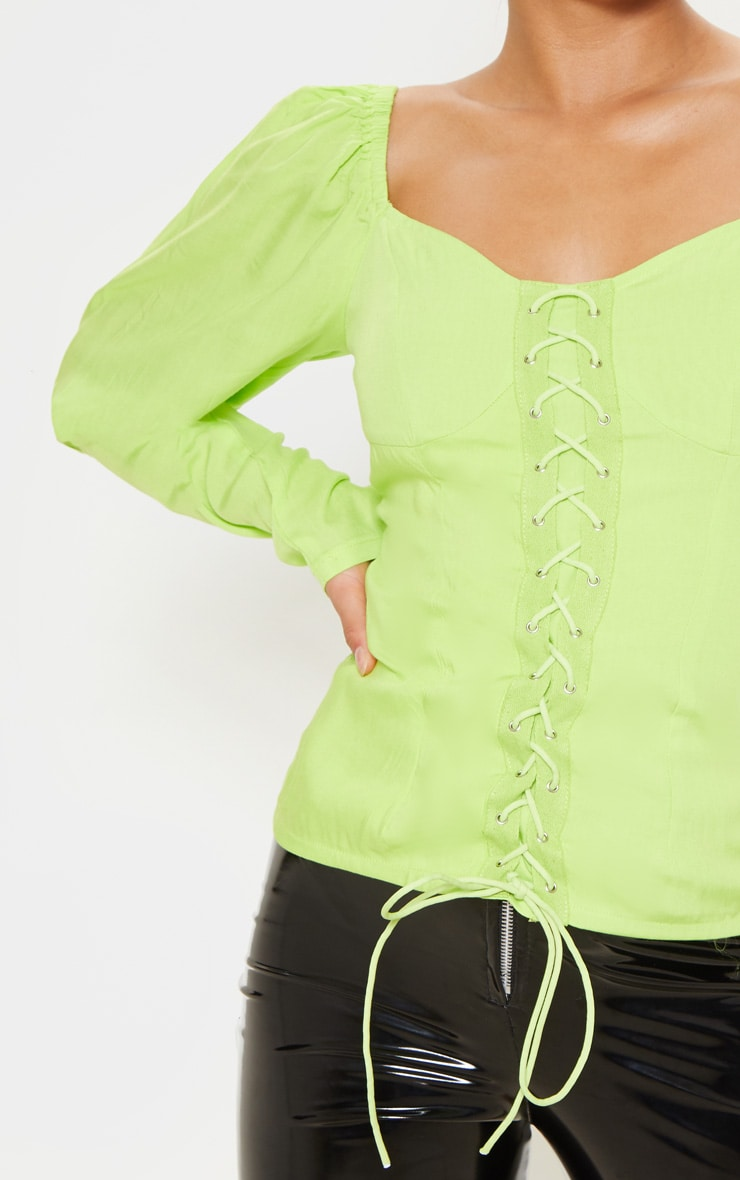 Petite Neon Lime Lace Up Cup Sleeve Puff Long Sleeve  Top 4
