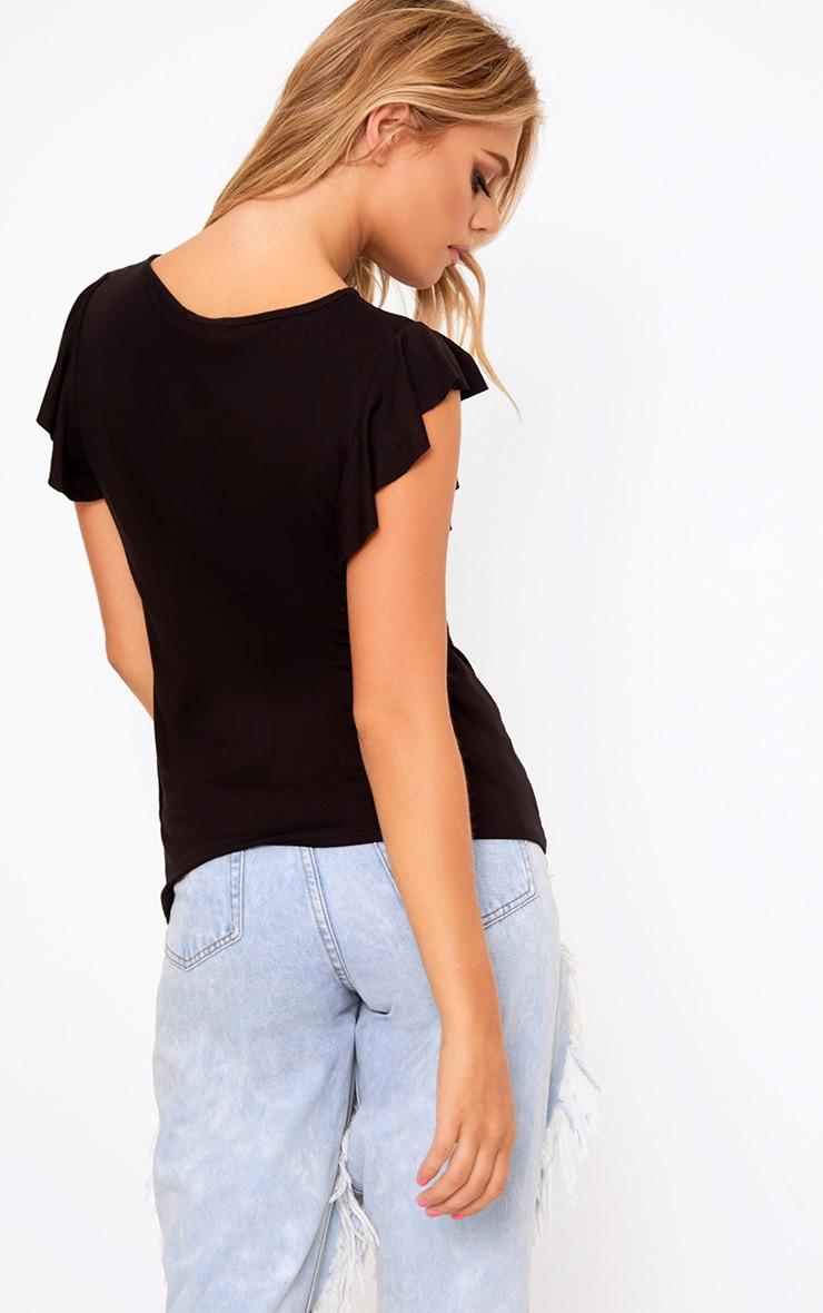 Black Brunch Club Slogan Frill T-Shirt 2