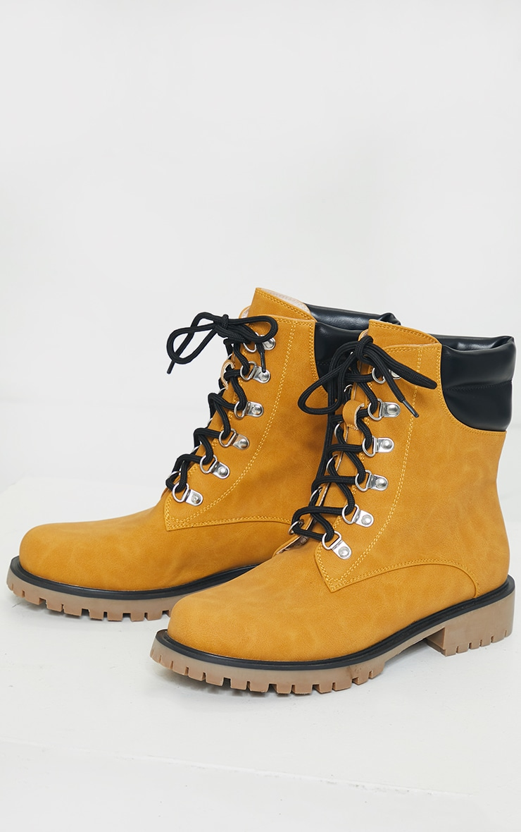 Tan Suede Contrast Pu Back Eyelet Lace Up Boots 3