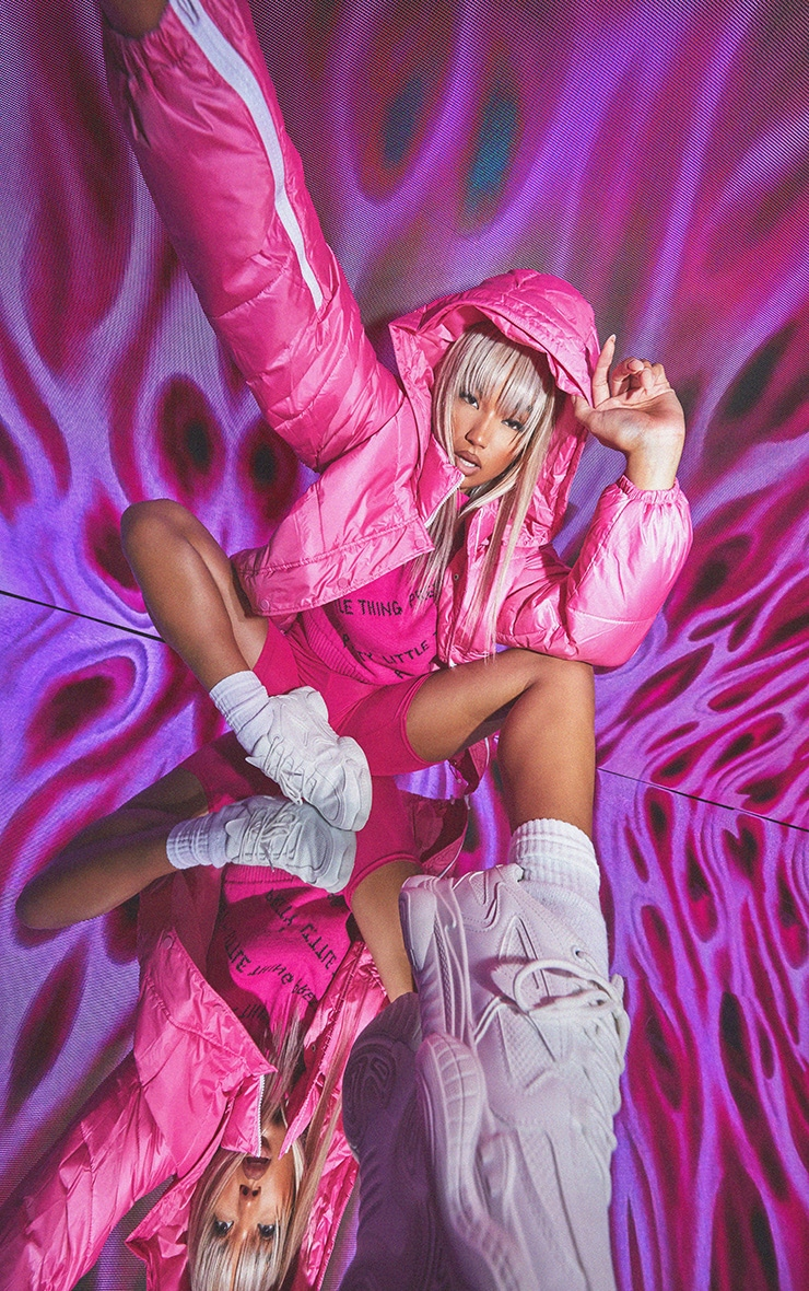 Pink Nylon Oversized Zip Sleeve Puffer Jacket 1