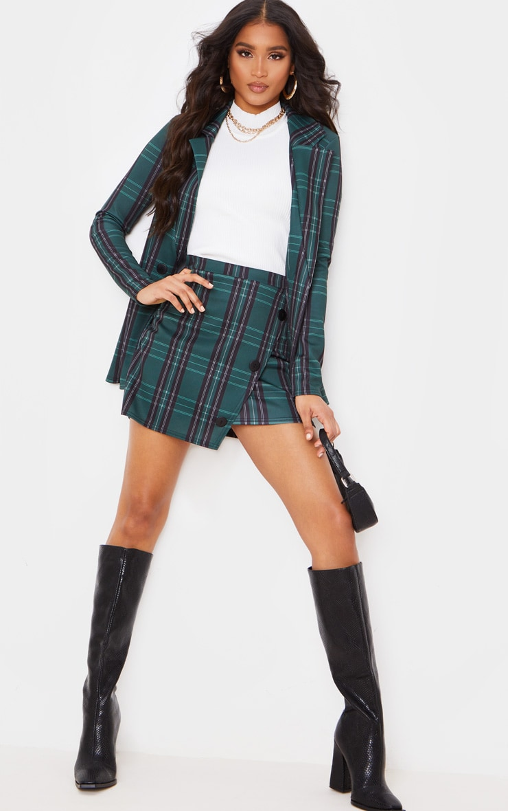 Green Checked Button Skirt 6