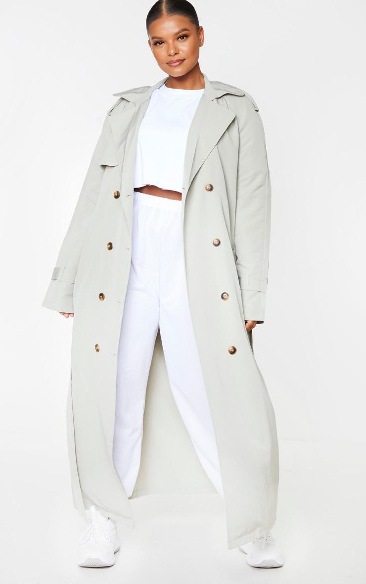 Plus Pale Khaki Oversized Trench Coat 1