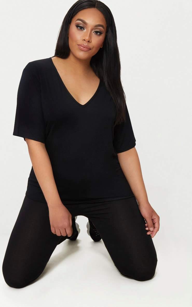 Plus Black Basic V Neck T Shirt 1