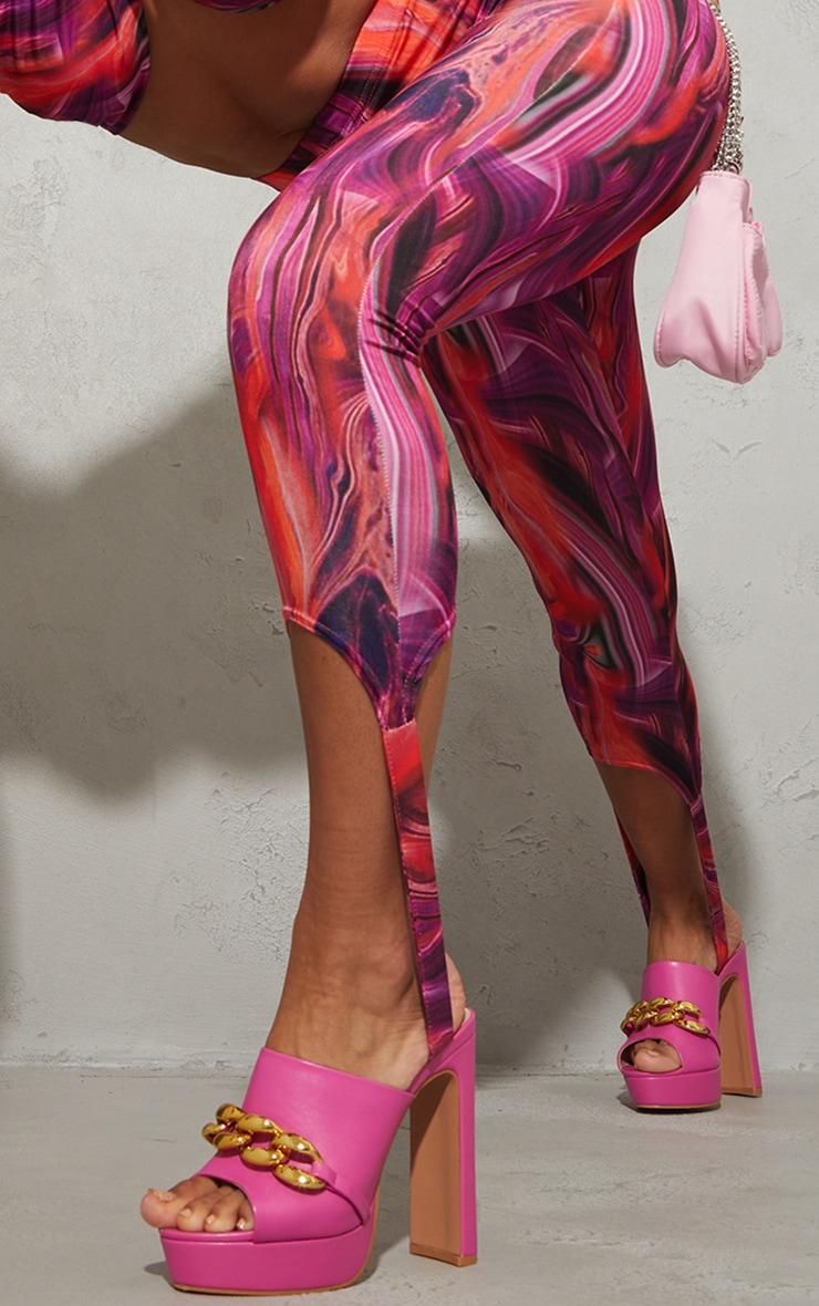 Bright Pink Abstract Print Slinky Stirrup Leggings 4