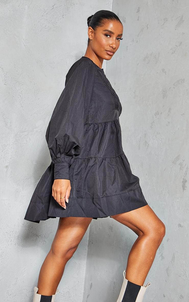 Black Woven Ruffled Tiered Smock Dress 2