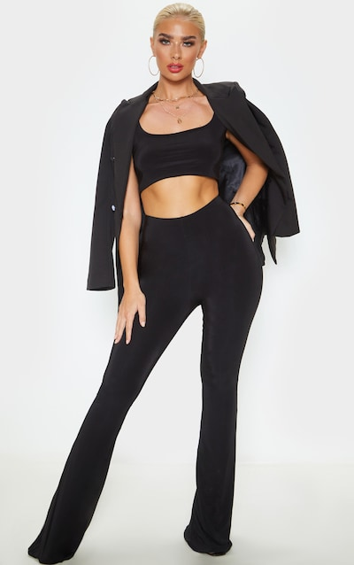 Black Flare Ruched Bum Slinky Trouser