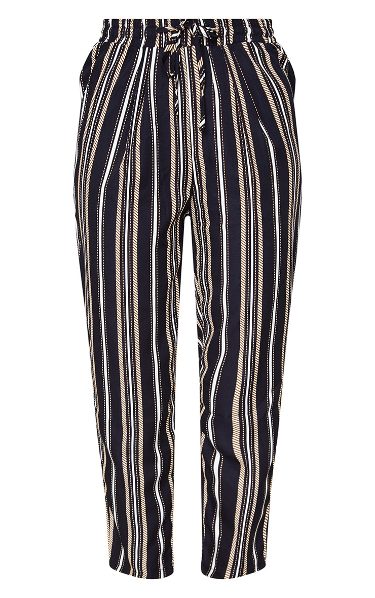 Black Multi Stripe Casual Trousers 3