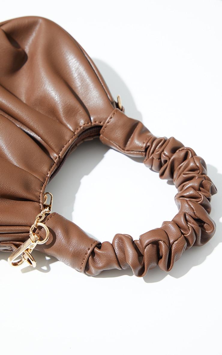 Chocolate Ruched Mini Grab bag 3